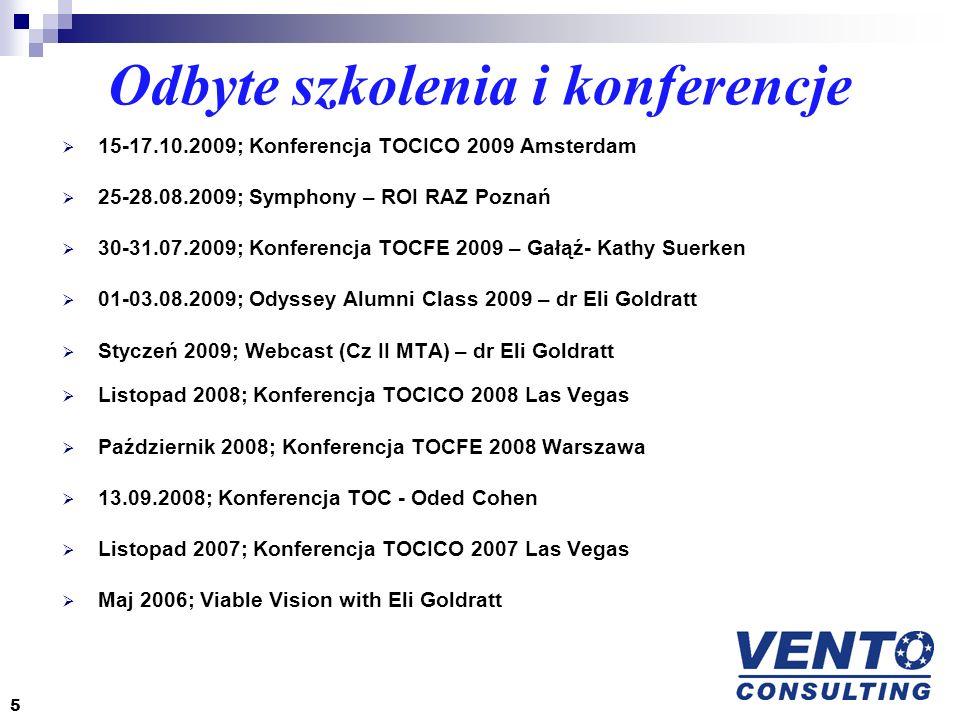 Odbyte szkolenia i konferencje 15-17.10.2009; Konferencja TOCICO 2009 Amsterdam 25-28.08.2009; Symphony – ROI RAZ Poznań 30-31.07.2009; Konferencja TO