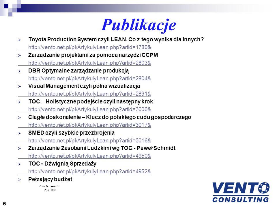 Publikacje Toyota Production System czyli LEAN. Co z tego wynika dla innych? http://vento.net.pl/pl/ArtykulyLean.php?artid=1780& Zarządzanie projektam