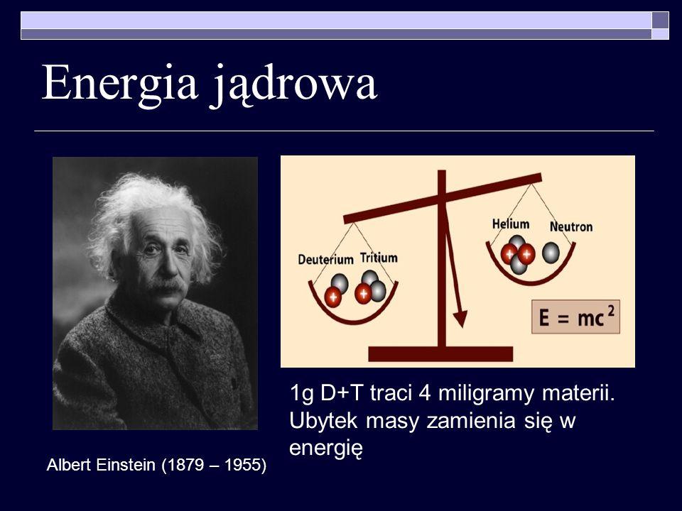Energia jądrowa 1g D+T traci 4 miligramy materii. Ubytek masy zamienia się w energię Albert Einstein (1879 – 1955)