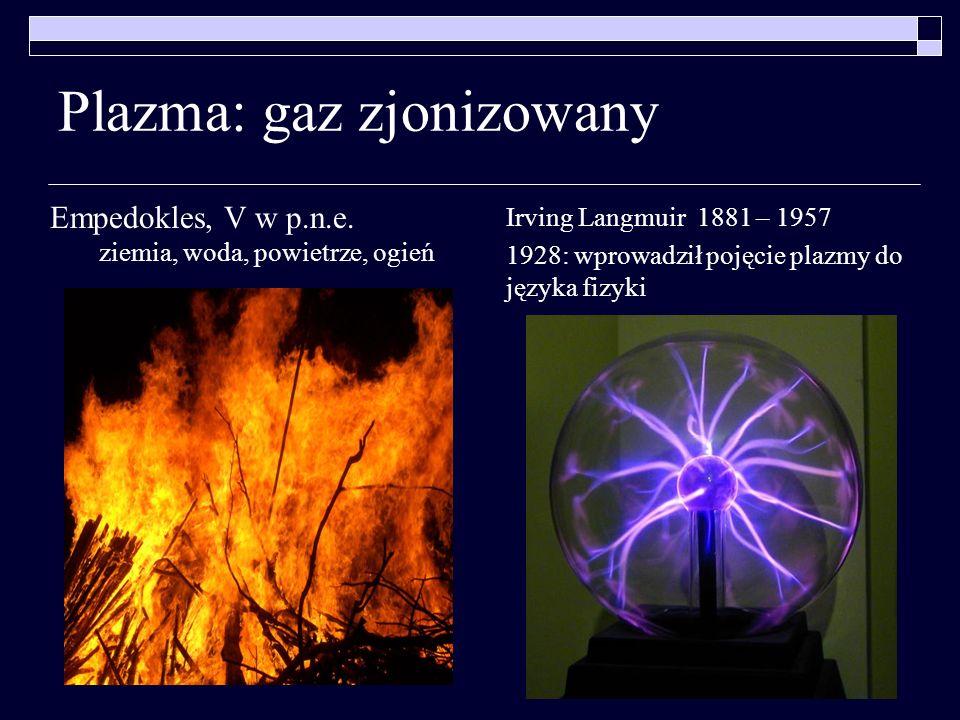 Plazma: gaz zjonizowany Irving Langmuir 1881 – 1957 1928: wprowadził pojęcie plazmy do języka fizyki Empedokles, V w p.n.e. ziemia, woda, powietrze, o