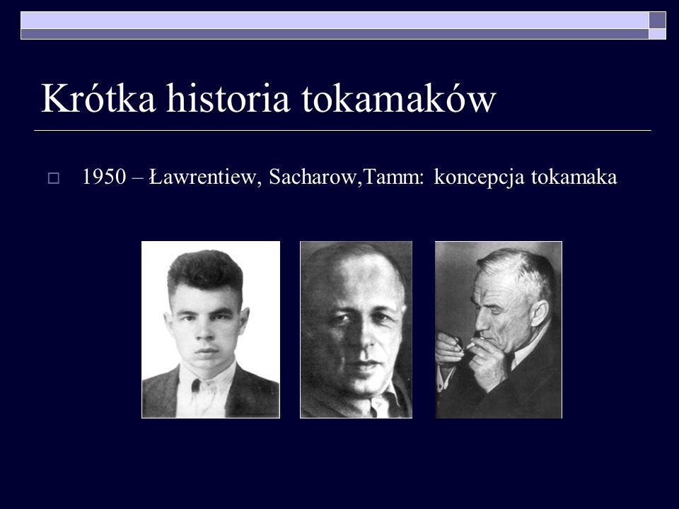 Krótka historia tokamaków 1950 – Ławrentiew, Sacharow,Tamm: koncepcja tokamaka