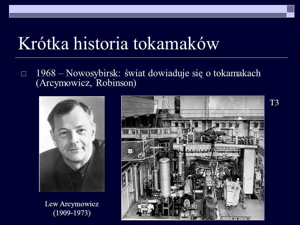 Krótka historia tokamaków 1968 – Nowosybirsk: świat dowiaduje się o tokamakach (Arcymowicz, Robinson) Lew Arcymowicz (1909-1973) T3