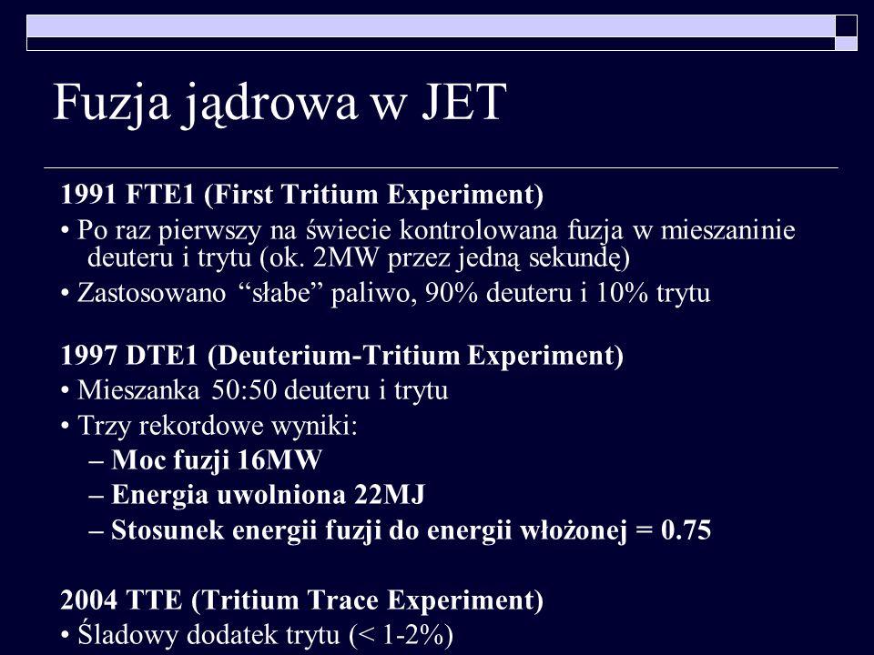 Fuzja jądrowa w JET 1991 FTE1 (First Tritium Experiment) Po raz pierwszy na świecie kontrolowana fuzja w mieszaninie deuteru i trytu (ok. 2MW przez je