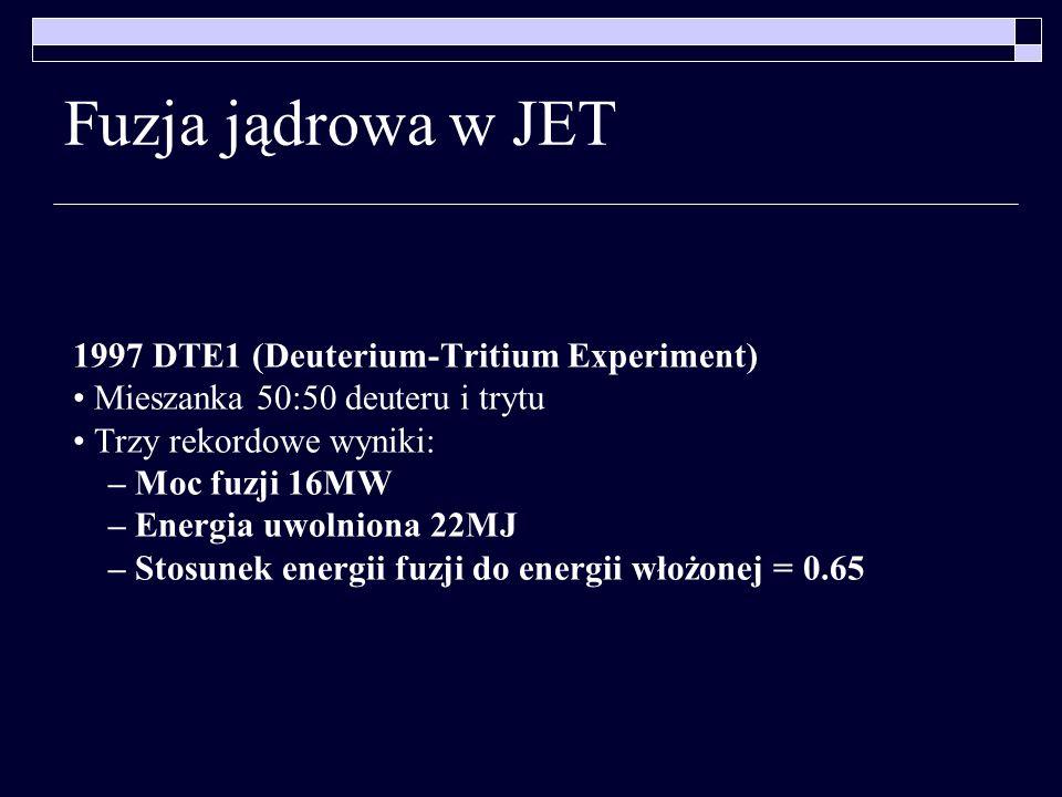 Fuzja jądrowa w JET 1997 DTE1 (Deuterium-Tritium Experiment) Mieszanka 50:50 deuteru i trytu Trzy rekordowe wyniki: – Moc fuzji 16MW – Energia uwolnio