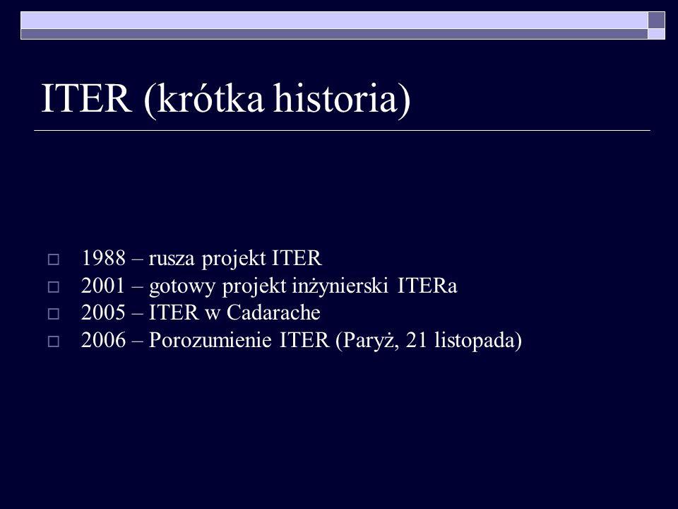 1988 – rusza projekt ITER 2001 – gotowy projekt inżynierski ITERa 2005 – ITER w Cadarache 2006 – Porozumienie ITER (Paryż, 21 listopada)