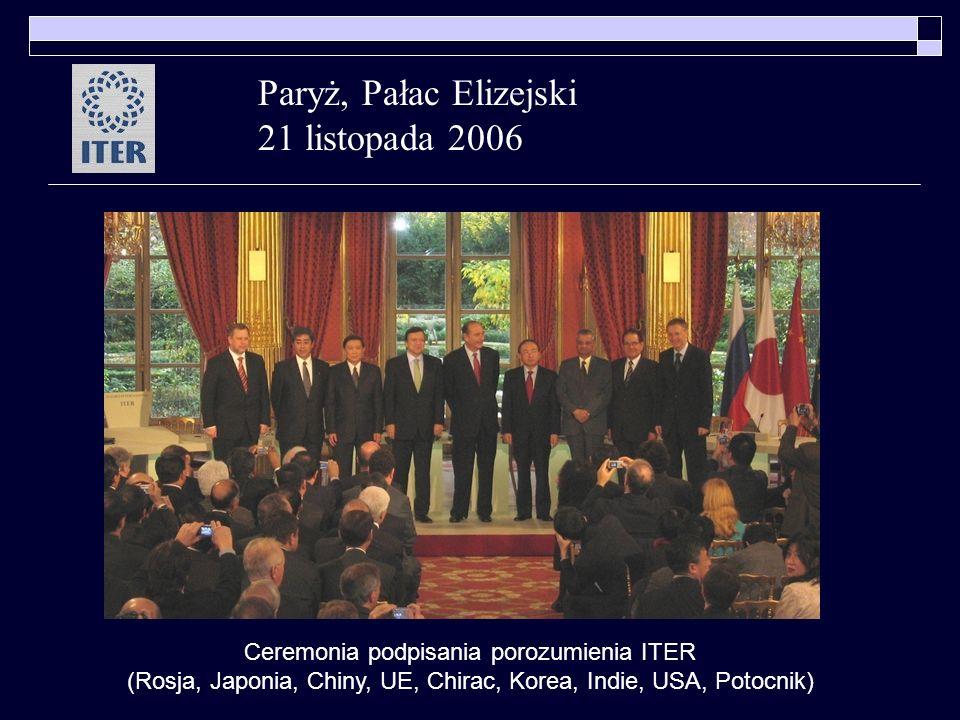 Paryż, Pałac Elizejski 21 listopada 2006 Ceremonia podpisania porozumienia ITER (Rosja, Japonia, Chiny, UE, Chirac, Korea, Indie, USA, Potocnik)