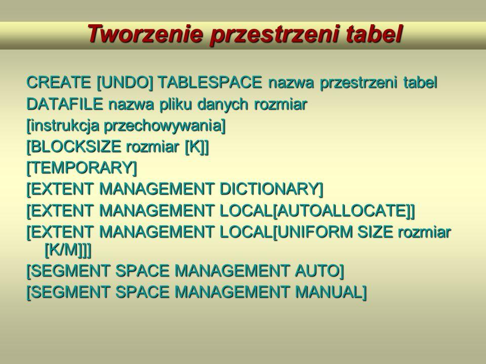 CREATE [UNDO] TABLESPACE nazwa przestrzeni tabel DATAFILE nazwa pliku danych rozmiar [instrukcja przechowywania] [BLOCKSIZE rozmiar [K]] [TEMPORARY] [