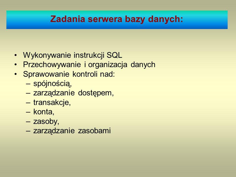 Wykonywanie instrukcji SQL Przechowywanie i organizacja danych Sprawowanie kontroli nad: –spójnością, –zarządzanie dostępem, –transakcje, –konta, –zas
