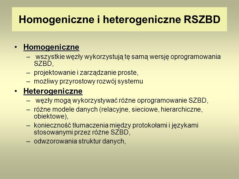 Homogeniczne i heterogeniczne RSZBD HomogeniczneHomogeniczne – wszystkie węzły wykorzystują tę samą wersję oprogramowania SZBD, –projektowanie i zarzą