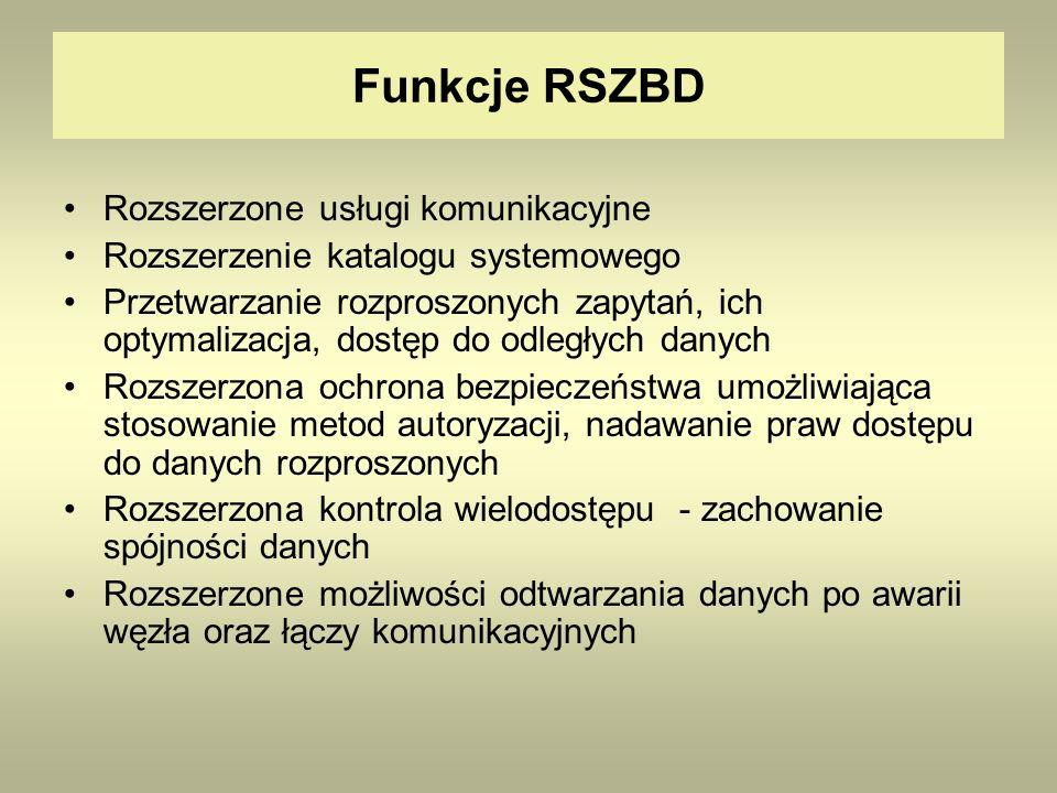 Funkcje RSZBD Rozszerzone usługi komunikacyjne Rozszerzenie katalogu systemowego Przetwarzanie rozproszonych zapytań, ich optymalizacja, dostęp do odl