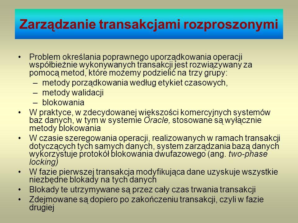 Zarządzanie transakcjami rozproszonymi Problem określania poprawnego uporządkowania operacji współbieżnie wykonywanych transakcji jest rozwiązywany za