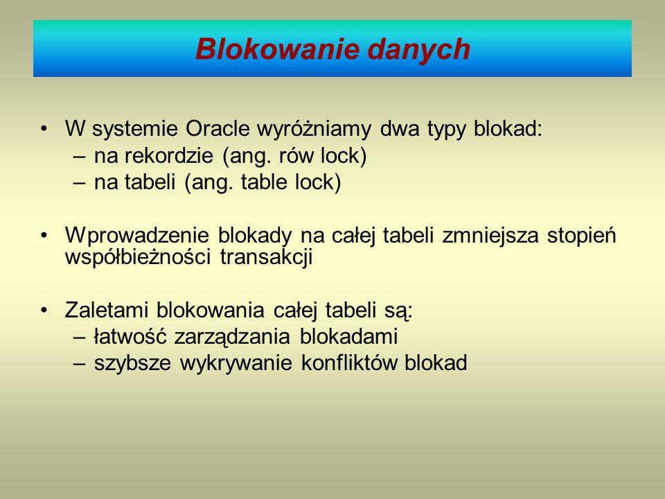 Blokowanie danych W systemie Oracle wyróżniamy dwa typy blokad: –na rekordzie (ang. rów lock) –na tabeli (ang. table lock) Wprowadzenie blokady na cał