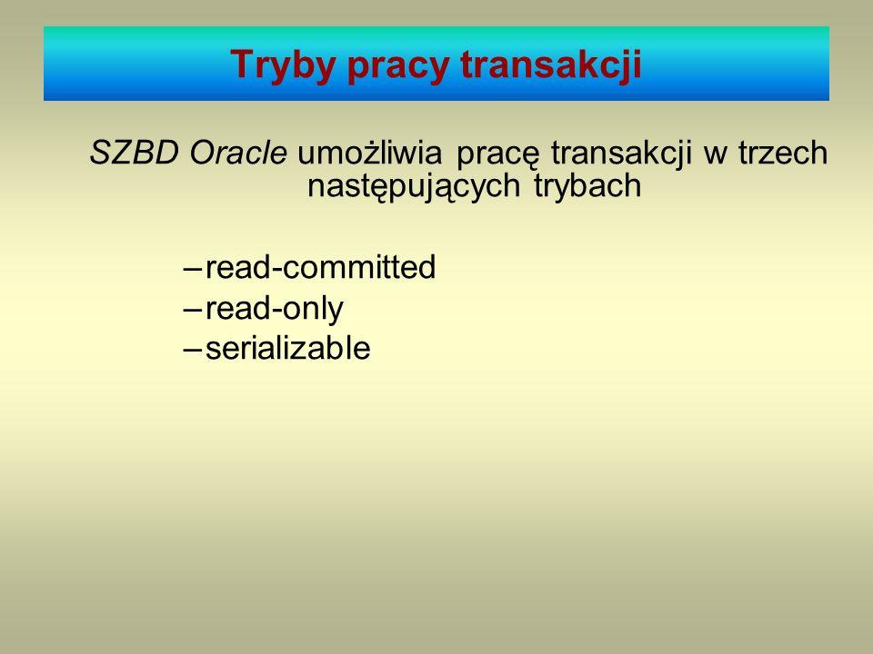 Tryby pracy transakcji SZBD Oracle umożliwia pracę transakcji w trzech następujących trybach –read-committed –read-only –serializable