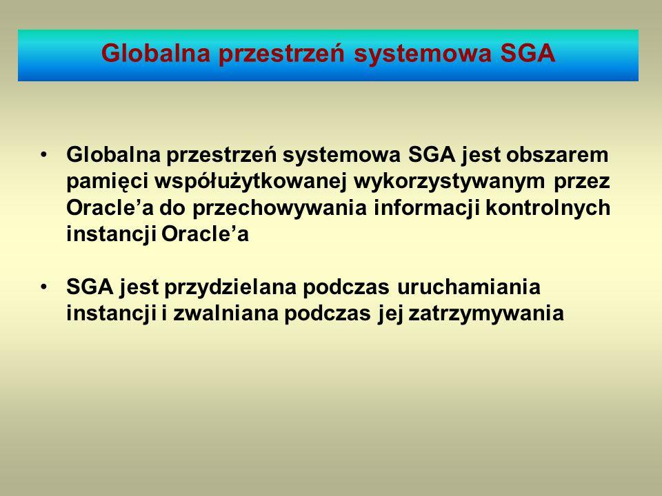 Globalna przestrzeń systemowa SGA jest obszarem pamięci współużytkowanej wykorzystywanym przez Oraclea do przechowywania informacji kontrolnych instan