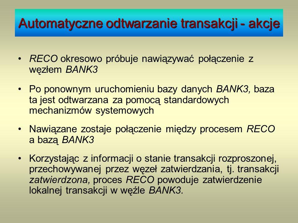 Stan węzła w systemie RECO okresowo próbuje nawiązywać połączenie z węzłem BANK3 Po ponownym uruchomieniu bazy danych BANK3, baza ta jest odtwarzana z