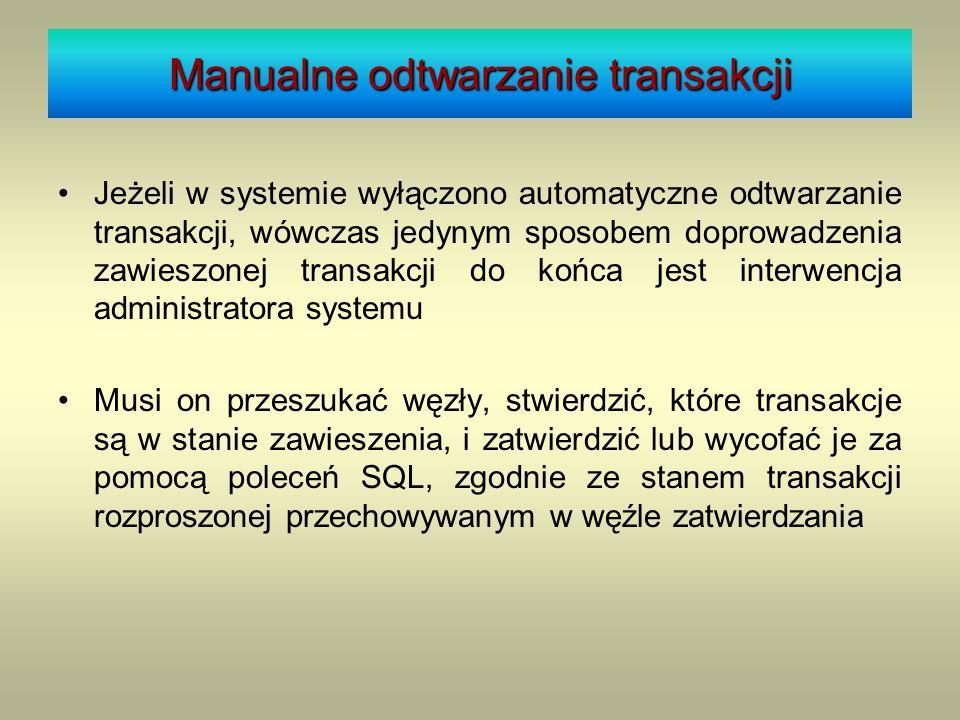 Stan węzła w systemie Jeżeli w systemie wyłączono automatyczne odtwarzanie transakcji, wówczas jedynym sposobem doprowadzenia zawieszonej transakcji d