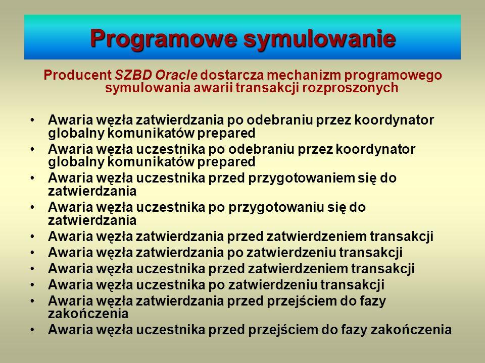 Stan węzła w systemie Producent SZBD Oracle dostarcza mechanizm programowego symulowania awarii transakcji rozproszonych Awaria węzła zatwierdzania po