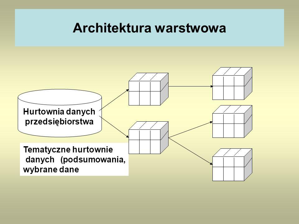 Architektura warstwowa Hurtownia danych przedsiębiorstwa Tematyczne hurtownie danych (podsumowania, wybrane dane