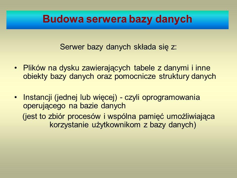 Serwer bazy danych składa się z: Plików na dysku zawierających tabele z danymi i inne obiekty bazy danych oraz pomocnicze struktury danych Instancji (