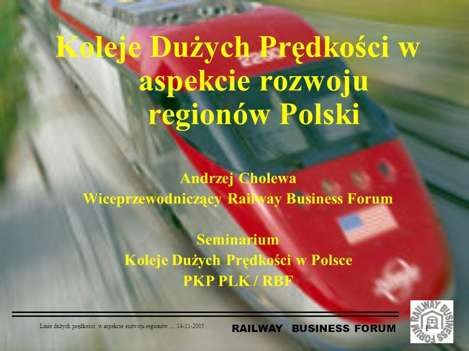 RAILWAY BUSINESS FORUM Linie dużych prędkości w aspekcie rozwoju regionów.... 14-11-2005 1 Koleje Dużych Prędkości w aspekcie rozwoju regionów Polski