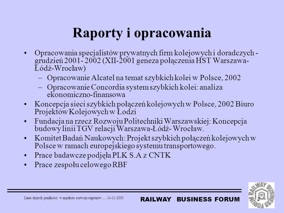RAILWAY BUSINESS FORUM Linie dużych prędkości w aspekcie rozwoju regionów.... 14-11-2005 2 Raporty i opracowania Opracowania specjalistów prywatnych f