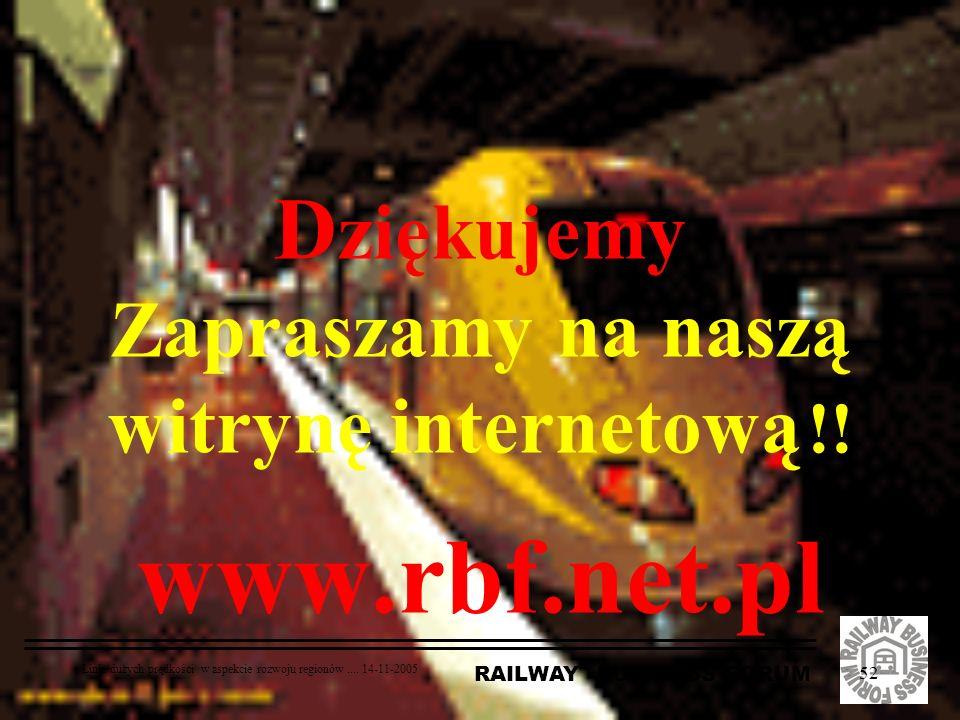 RAILWAY BUSINESS FORUM Linie dużych prędkości w aspekcie rozwoju regionów.... 14-11-2005 52 D ziękujemy Zapraszamy na naszą witrynę internetową !! www