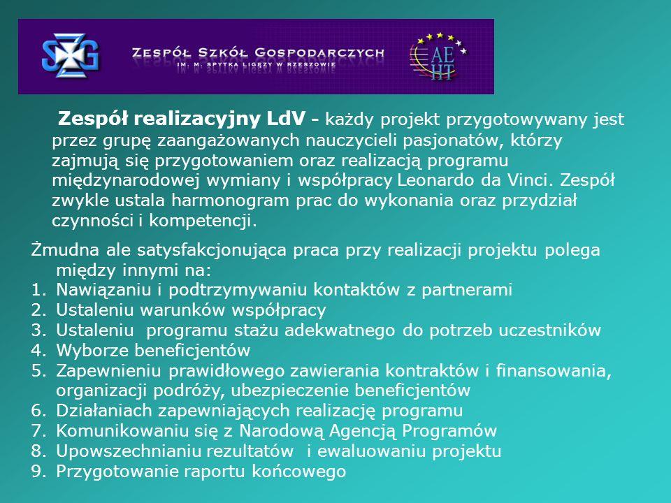 Zespół realizacyjny LdV - każdy projekt przygotowywany jest przez grupę zaangażowanych nauczycieli pasjonatów, którzy zajmują się przygotowaniem oraz