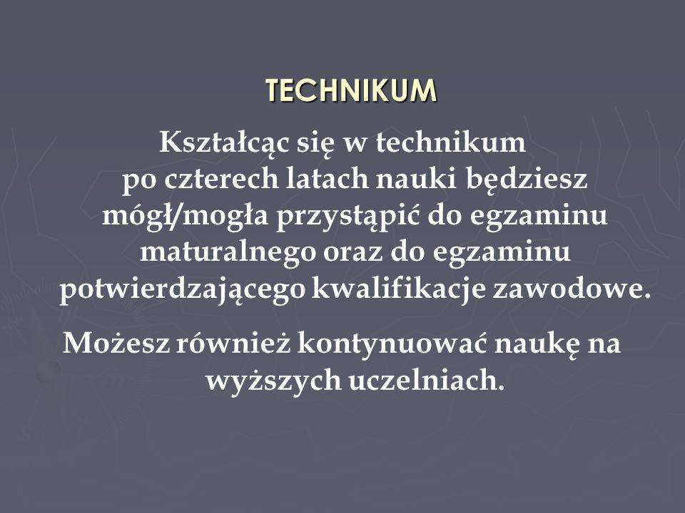 TECHNIKUM ZAWODOWE NR 4 Technik mechanik Dynamiczny rozwój przemysłu maszynowego oraz sektora wytwórczego gospodarki doprowadził do zapotrzebowania na rynku pracy na dobrze wykształconych fachowców z branży mechanicznej na stanowiska średniego nadzoru technicznego.