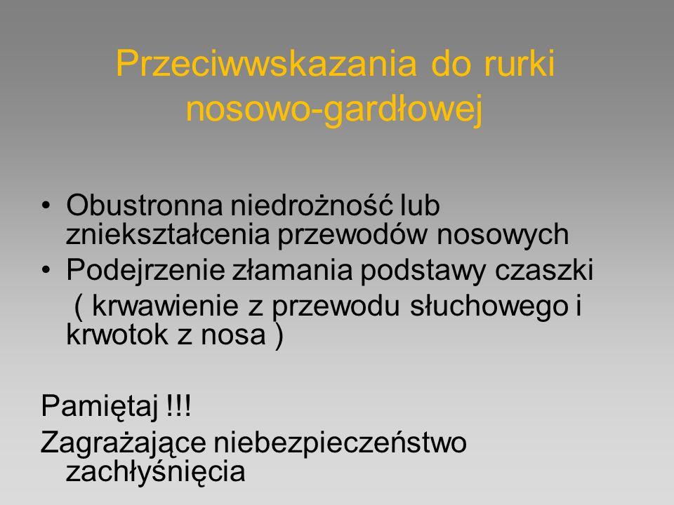 Przeciwwskazania do rurki nosowo-gardłowej Obustronna niedrożność lub zniekształcenia przewodów nosowych Podejrzenie złamania podstawy czaszki ( krwaw