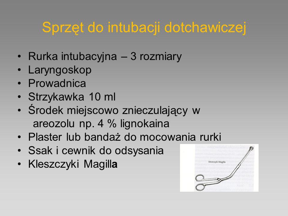 Sprzęt do intubacji dotchawiczej Rurka intubacyjna – 3 rozmiary Laryngoskop Prowadnica Strzykawka 10 ml Środek miejscowo znieczulający w areozolu np.