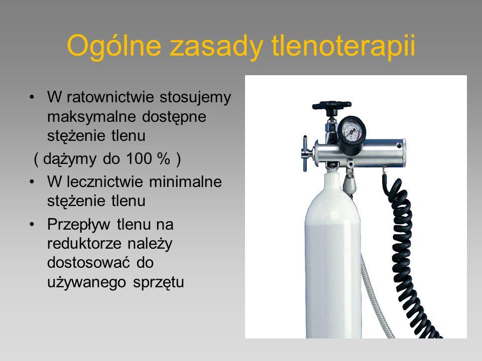 Ogólne zasady tlenoterapii W ratownictwie stosujemy maksymalne dostępne stężenie tlenu ( dążymy do 100 % ) W lecznictwie minimalne stężenie tlenu Prze