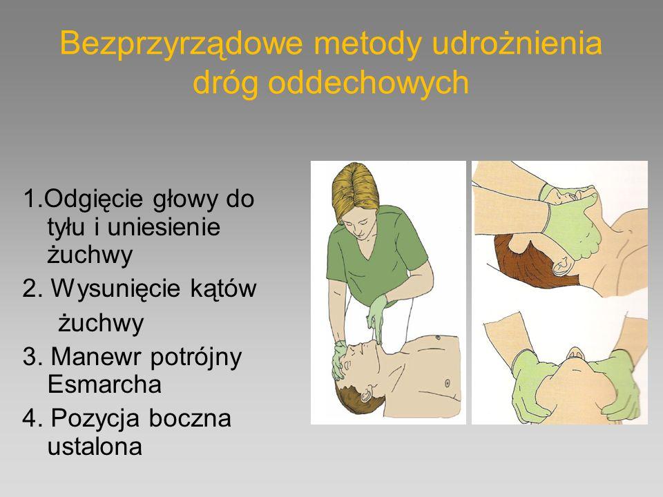 Bezprzyrządowe metody udrożnienia dróg oddechowych 1.Odgięcie głowy do tyłu i uniesienie żuchwy 2. Wysunięcie kątów żuchwy 3. Manewr potrójny Esmarcha