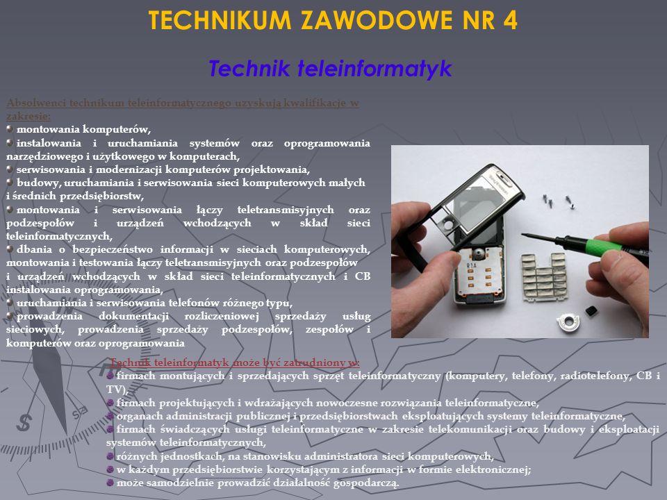 Technik teleinformatyk może być zatrudniony w: firmach montujących i sprzedających sprzęt teleinformatyczny (komputery, telefony, radiotelefony, CB i
