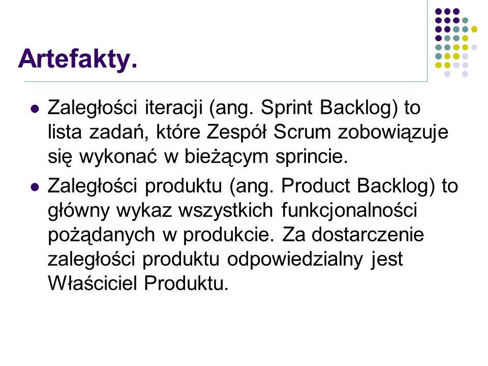 Zaległości iteracji (ang. Sprint Backlog) to lista zadań, które Zespół Scrum zobowiązuje się wykonać w bieżącym sprincie. Zaległości produktu (ang. Pr