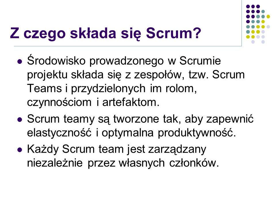 Z czego składa się Scrum? Środowisko prowadzonego w Scrumie projektu składa się z zespołów, tzw. Scrum Teams i przydzielonych im rolom, czynnościom i