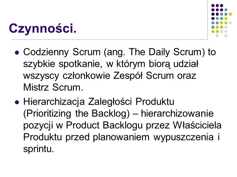 Codzienny Scrum (ang. The Daily Scrum) to szybkie spotkanie, w którym biorą udział wszyscy członkowie Zespół Scrum oraz Mistrz Scrum. Hierarchizacja Z
