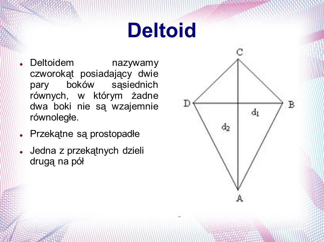 Deltoid Deltoidem nazywamy czworokąt posiadający dwie pary boków sąsiednich równych, w którym żadne dwa boki nie są wzajemnie równoległe. Przekątne są