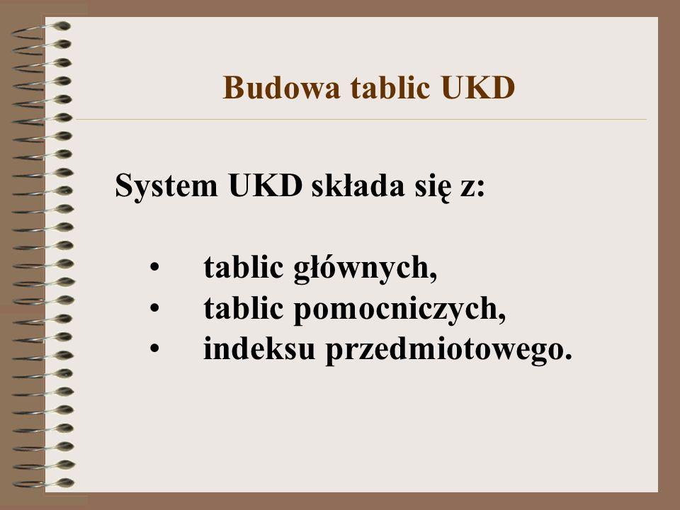 System UKD składa się z: tablic głównych, tablic pomocniczych, indeksu przedmiotowego. Budowa tablic UKD