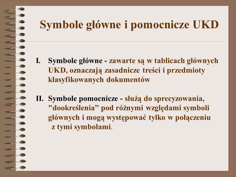 Symbole główne i pomocnicze UKD I.Symbole główne - zawarte są w tablicach głównych UKD, oznaczają zasadnicze treści i przedmioty klasyfikowanych dokum