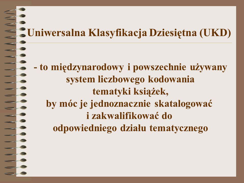 UKD jest modyfikacją KDD (Klasyfikacja Dziesiętna Deweya), którą opracował Melvil Dewey.