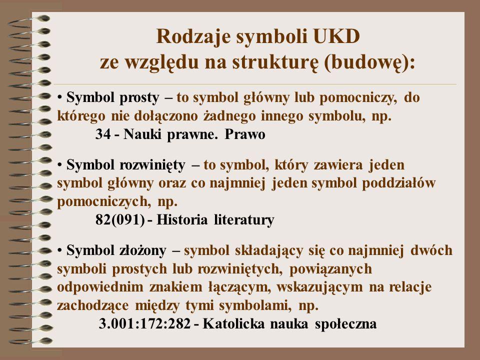 Rodzaje symboli UKD ze względu na strukturę (budowę): Symbol prosty – to symbol główny lub pomocniczy, do którego nie dołączono żadnego innego symbolu