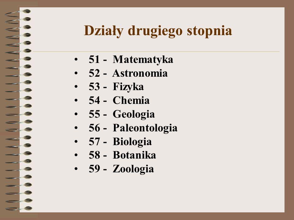 51 - Matematyka 52 - Astronomia 53 - Fizyka 54 - Chemia 55 - Geologia 56 - Paleontologia 57 - Biologia 58 - Botanika 59 - Zoologia Działy drugiego sto