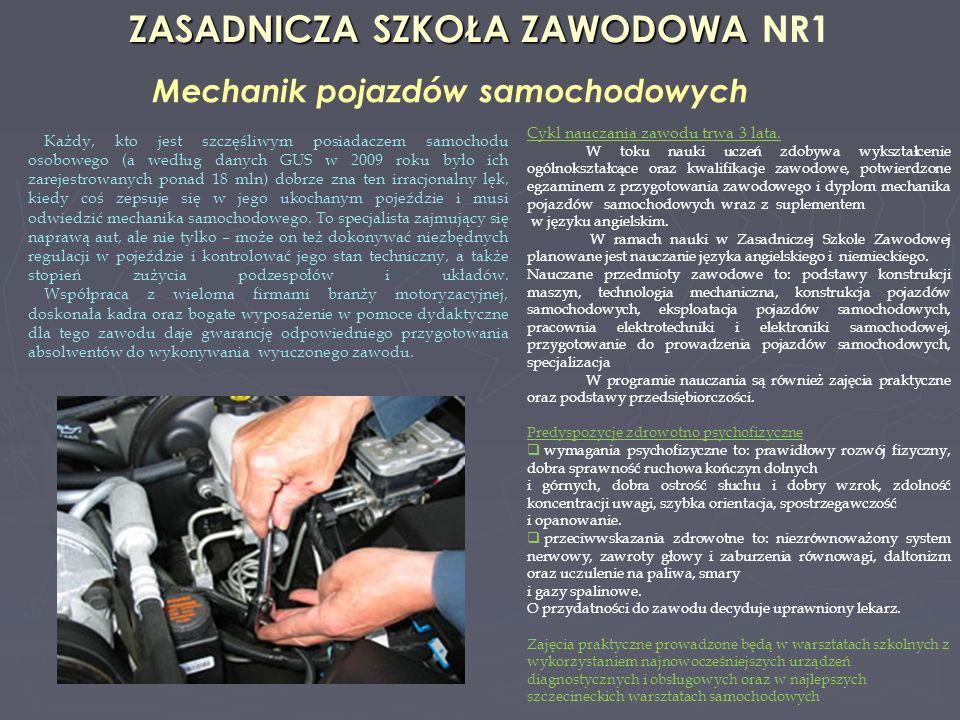 ZASADNICZA SZKOŁA ZAWODOWA ZASADNICZA SZKOŁA ZAWODOWA NR1 Mechanik pojazdów samochodowych Cykl nauczania zawodu trwa 3 lata. W toku nauki uczeń zdobyw