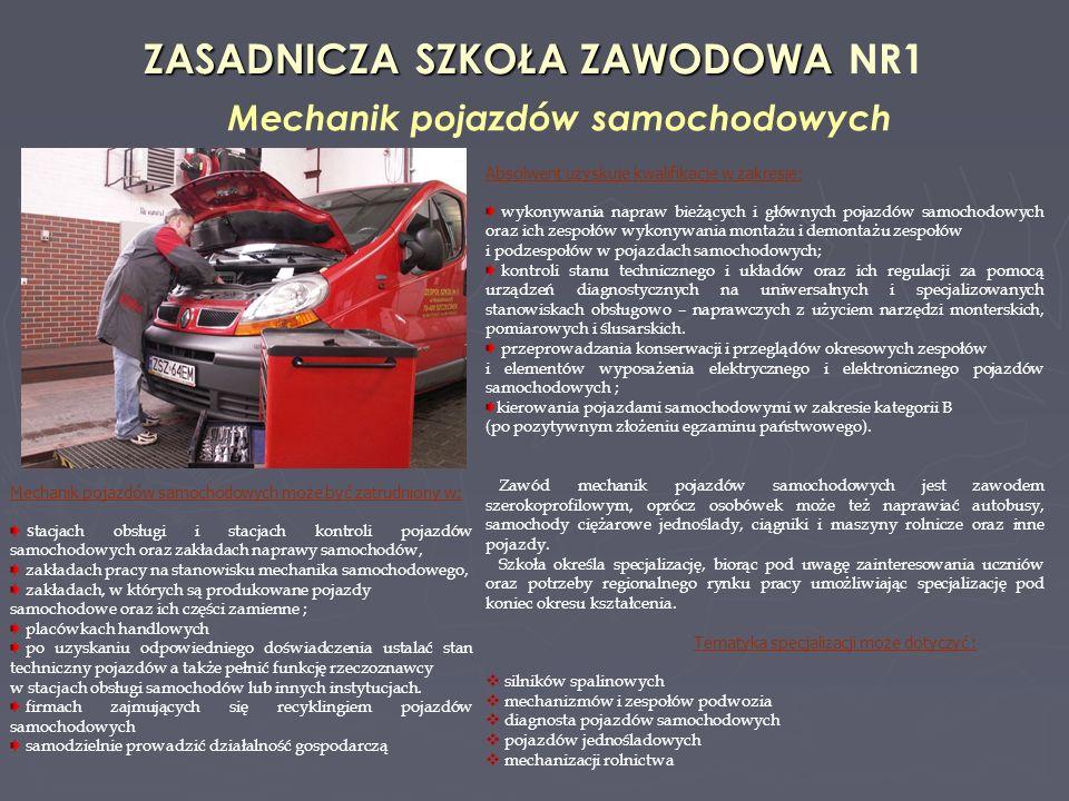 ZASADNICZA SZKOŁA ZAWODOWA ZASADNICZA SZKOŁA ZAWODOWA NR1 Mechanik pojazdów samochodowych Absolwent uzyskuje kwalifikacje w zakresie: wykonywania napraw bieżących i głównych pojazdów samochodowych oraz ich zespołów wykonywania montażu i demontażu zespołów i podzespołów w pojazdach samochodowych; kontroli stanu technicznego i układów oraz ich regulacji za pomocą urządzeń diagnostycznych na uniwersalnych i specjalizowanych stanowiskach obsługowo – naprawczych z użyciem narzędzi monterskich, pomiarowych i ślusarskich.