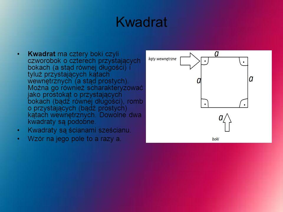 Kwadrat Kwadrat ma cztery boki czyli czworobok o czterech przystających bokach (a stąd równej długości) i tyluż przystających kątach wewnętrznych (a s
