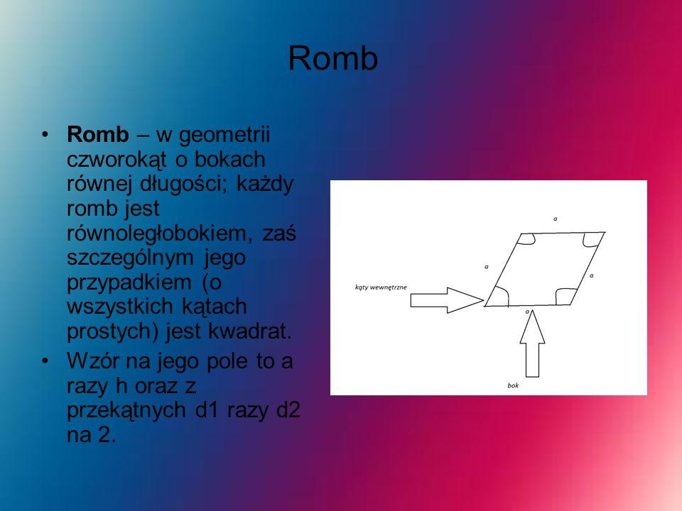 Romb Romb – w geometrii czworokąt o bokach równej długości; każdy romb jest równoległobokiem, zaś szczególnym jego przypadkiem (o wszystkich kątach pr