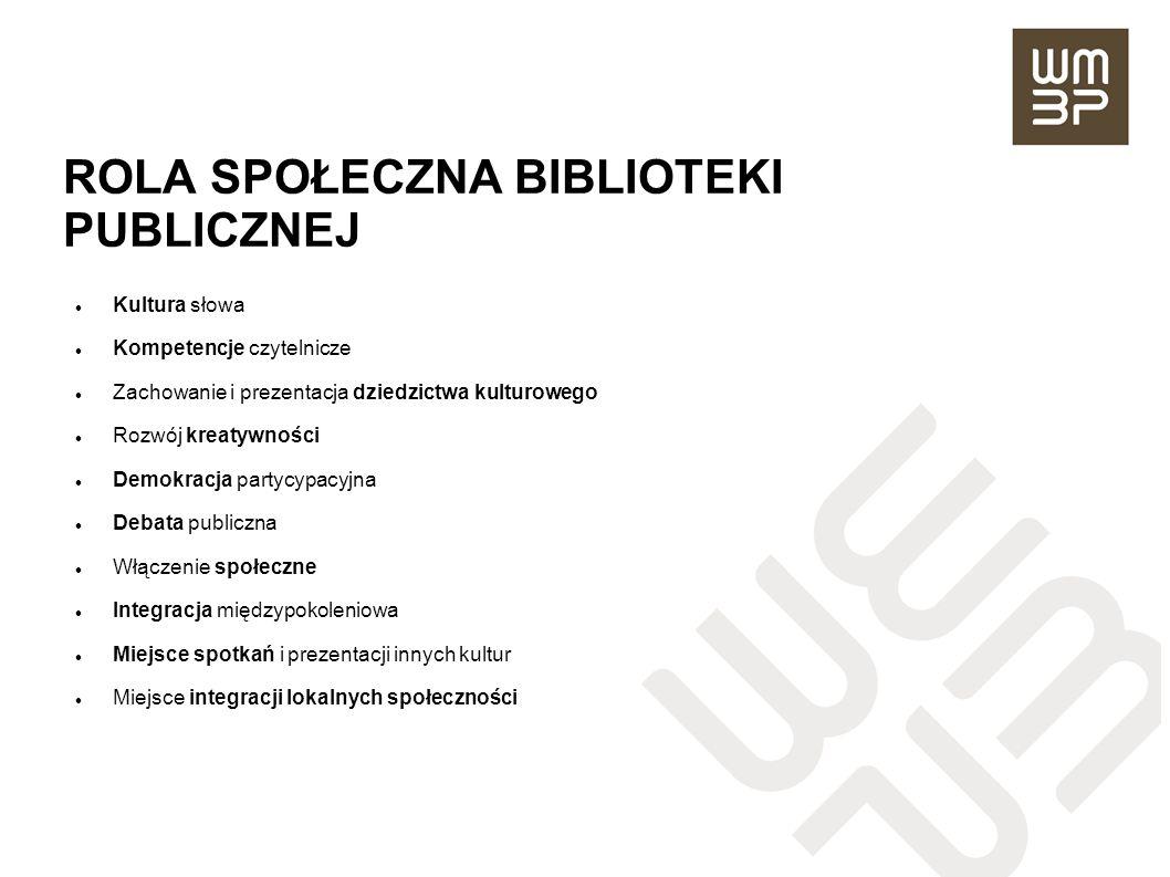 ROLA SPOŁECZNA BIBLIOTEKI PUBLICZNEJ Kultura słowa Kompetencje czytelnicze Zachowanie i prezentacja dziedzictwa kulturowego Rozwój kreatywności Demokr