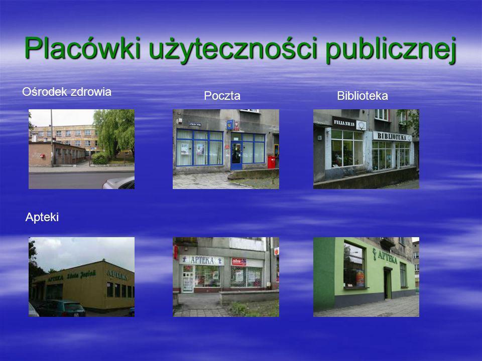 Placówki użyteczności publicznej Ośrodek zdrowia PocztaBiblioteka Apteki