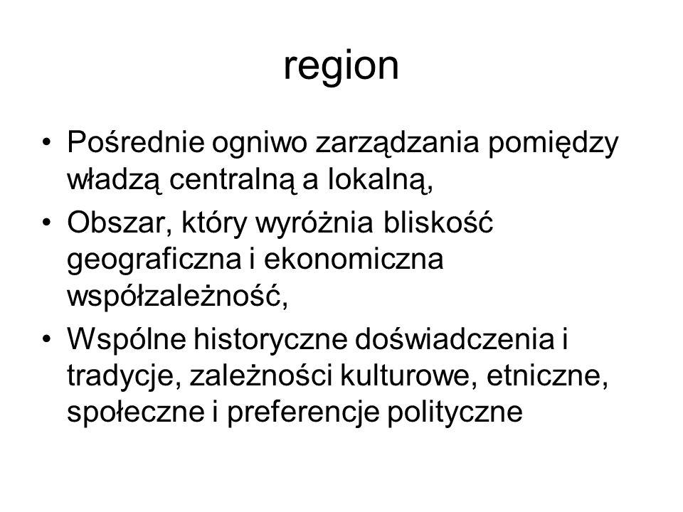 REGIONY W PAŃSTWACH UNITARNYCH region autonomiczny – państwa w których występują regiony tego typu zwane są również zregionalizowanymi państwami unitarnymi(regionalized unitary states)