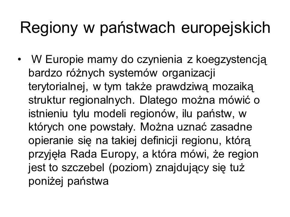 NUTS Nomenclature of teritorial units for statistics – Nomenklatura jednostek terytorialnych dla celów statystycznych Pięciostopniowa klasyfikacja, która obejmuje poziom regionalny (NUTS 1- NUTS 3) Dwa poziomy lokalne (NUTS 4, NUTS 5), W Polsce Obszar całego państwa NUTS 1, Województwo NUTS 2, Podregiony – grupy powiatów NUTS 3, Powiaty i miasta na prawach powiatu, NUTS 4, Gminy NUTS 5